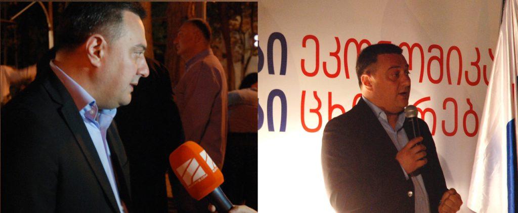 Parlementariër Viktor Dolidze op campagne in zijn district, de wijk Vake in Tbilisi